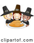 Vector of Happy Cartoon Pilgrim KChildren Serving a Thanksgiving Turkey by BNP Design Studio