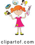 Vector of Happy Cartoon Red Haired Girl Juggling Her Friends, School Books, Goldfish, Parents and Ballet Slippers by Maria Bell