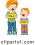 Vector of Happy Cartoon School Boys Holding 'Tall' and 'Short' Flash Cards by BNP Design Studio