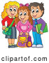 Vector of Happy Cartoon School Children with Their Bags by Visekart