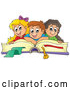 Vector of Happy Cartoon School KChildren on a Giant Book by Visekart
