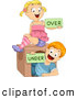 Vector of Happy Cartoon School Kids Holding 'Over' and 'Under' Flash Cards by BNP Design Studio