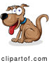 Vector of Happy Cartoon Sitting Brown Dog by Domenico Condello