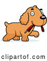 Vector of Happy Cartoon Spaniel Puppy Carrying a Leash by Cory Thoman