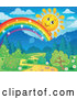 Vector of Happy Cartoon Sun Peeking over a Magical Rainbow over a Path and Forest by Visekart