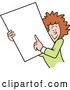 Vector of Happy Cartoon White Businesswoman Holding and Pointing to a Blank Sign or Document by Johnny Sajem