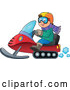 Vector of Happy Cartoon White Guy Driving a Snowmobile by Visekart