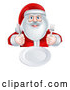 Vector of Happy Christmas Santa Claus Sitting with a Clean Plate and Holding Silverware by AtStockIllustration