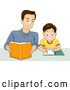 Vector of Happy Father Helping His Son with Homework by BNP Design Studio