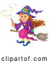 Vector of Happy Halloween Witch Girl Sitting on a Broom and Holding a Magic Wand by Visekart