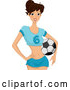 Vector of Happy Lady with a Soccer Ball on Her Hip by BNP Design Studio