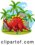 Vector of Happy Red Stegosaurus Dinosaur by Graphics RF