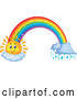 Vector of Happy Sun Cartoon and Rainbow with Rain by Visekart