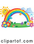 Vector of Happy Sun Character Behind a Rainbow over Flowers, with Rain by Visekart