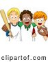 Vector of Happy White and Black Children with Baseball Gear by BNP Design Studio
