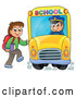 Vector of Happy White Boy Loading a School Bus by Visekart