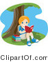 Vector of Happy Young Girl Reading Under a Tree by BNP Design Studio