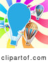 Vector of Hot Air Balloon Kite and Colorful Ray Background by Merlinul