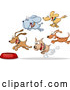 Vector of Hungry Cartoon Dogs Running Towards Food Bowl by