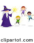Vector of Kids and a Wizard Floating by BNP Design Studio