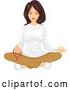 Vector of Lady Meditating with Mala Beads by BNP Design Studio