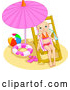 Vector of Little Girl Drinking Water and Relaxing Under a Beach Umbrella by Pushkin