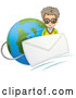 Vector of Mad Guy with an Email Envelope over Earth by Graphics RF