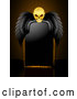 Vector of Menacing Skull with Black Wings over a Blank Black Sign by Elaineitalia