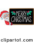Vector of Merry Christmas Blackboard with Santa by Visekart