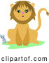 Vector of Mouse and a Friendly Lion by