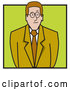 Vector of Nervous Business Man or Lawyer in a Green Suit by Andy Nortnik