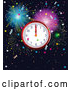 Vector of New Year Wall Clock Striking Midnight over Fireworks and Stars by Pushkin