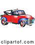 Vector of Old Blue Red 1953 Chevy Tow Truck with a Light on Top of the Roof by Andy Nortnik
