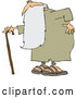 Vector of Old Guy, Father Time, Holding His Back and Walking with a Cane by Djart