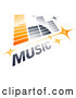 Vector of Orange and Gray Music Equalizer with Stars and MUSIC Text by Beboy