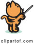 Vector of Orange Cat Standing on His Hind Legs and Using a Pointer Stick to Point Something out or Using a Wand to Conduct an Orchestra by Andy Nortnik