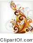 Vector of Orange Flourish Vines Background Design on White Background Version 3 by OnFocusMedia