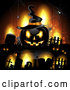 Vector of Orange Halloween Background with Tombstones and a Black Jackolantern 2 by Merlinul