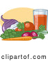 Vector of Organic Veggies; Turnip, Tomatoes, Celery, Carrot and Radish by R Formidable