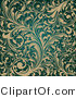 Vector of Ornate Beige Flourishes over Teal Background Design by OnFocusMedia