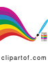 Vector of Paintbrush Painting a Creative Curvy Rainbow on White by Elaineitalia
