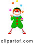 Vector of Party Clown Looking up and Juggling by Pushkin