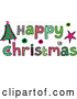 Vector of Patterned Sketched Happy Christmas Text with a Tree by Prawny