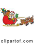 Vector of Peace Sign Santa Navigating Sleigh with Reindeer by Dennis Holmes Designs