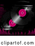 Vector of Pink and Black Vinyl Records on a Grunge Black Background with Pink Dots and Equalizer Bars by Elaineitalia