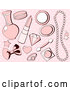 Vector of Pink Girly Makeup and Accesories over Polka Dots by Pushkin