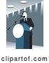 Vector of Politician Speaking at a Podium in Blue Tones by David Rey