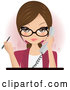 Vector of Pretty Brunette Secretary, Assistant or Receptionist Holding a Phone and a Pen While Taking a Call in an Office by Melisende Vector