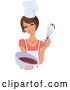 Vector of Pretty Brunette White Lady Holding up a Whisk and a Bowl of Cake Mix by Monica