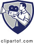 Vector of Profiled Retro Camera Guy Filming in a Blue White and Gray Shield by Patrimonio